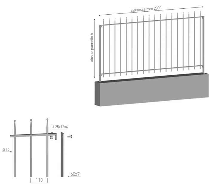 Recinzione in profili tubolari verticali Altavilla di Emmegi Grigliati Spa