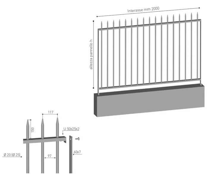 Recinzione in profili tubolari verticali Biancalancia di Emmegi Grigliati Spa