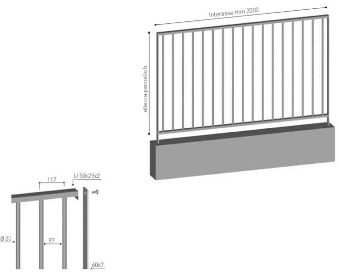Recinzione in profili tubolari verticali Malvasia di Emmegi Grigliati Spa